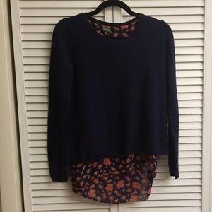 Lucky Brand layered navy blue sweater